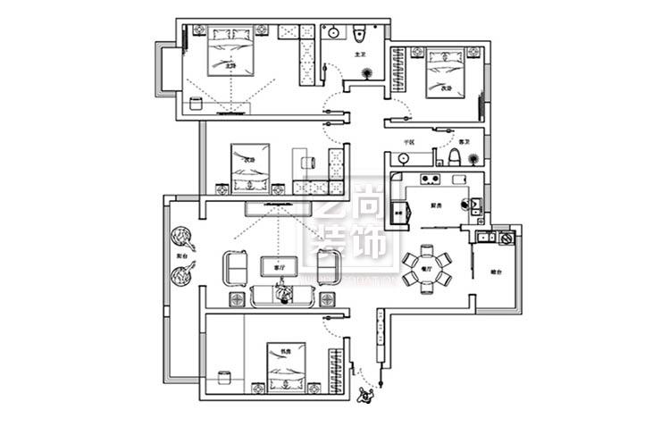 中原工学院A户型185平方四室两厅平面方案布局图