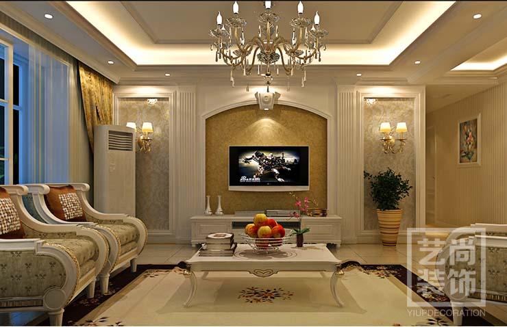 郑州中原工学院185平方四室两厅简欧风格样板间套餐大包装修,客厅装修效果图