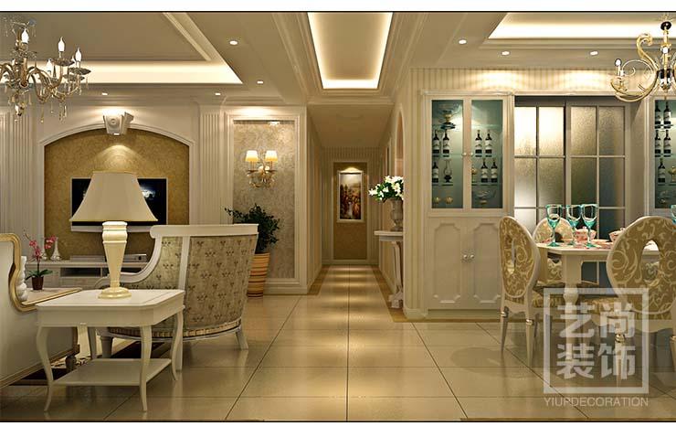 中原工学院185平方4室2厅套餐样装修,简欧风格样板间装修,客餐厅、走廊装修效果图