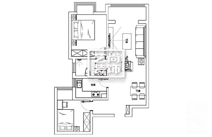 祈福尚都90平方两室两厅新中式风格装修案例美到不能呼吸