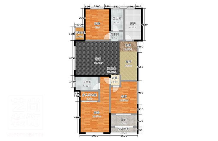 公园道1号121平方三室两厅两卫户型图