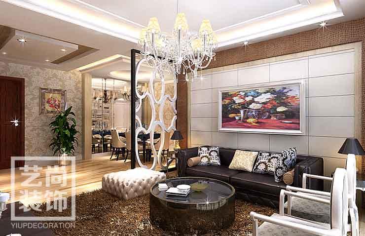 园道1号121平方3室2厅套餐装修样板间方案,客厅沙发背景墙效果图