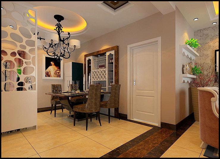 中州大学家属院11号楼a2户型两室两厅84平方简欧风格装修效果图图片