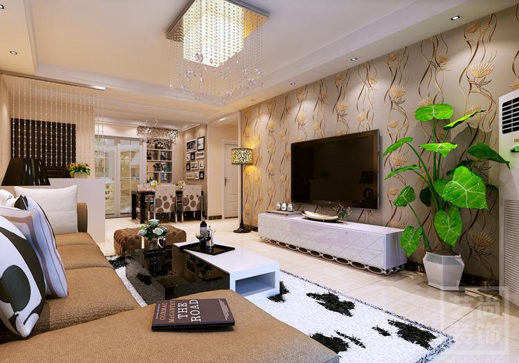 郑州盛润锦绣城二期116平方三室两厅设计案例,客厅电视背景墙装修效果