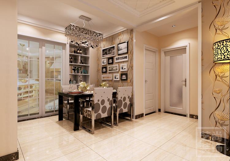 盛润锦绣城三室两厅116平方户型装修案例,餐厅造型装修效果图.