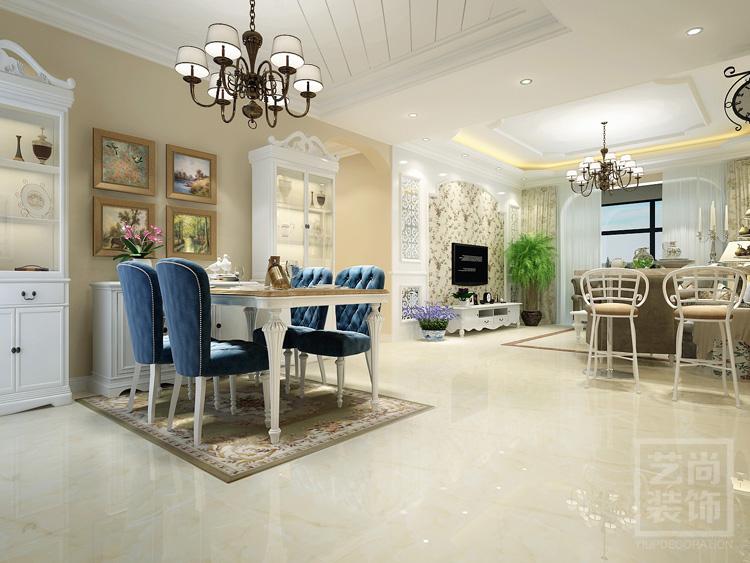 平方四室两厅简欧风格装修效果图整体风格为简约欧式