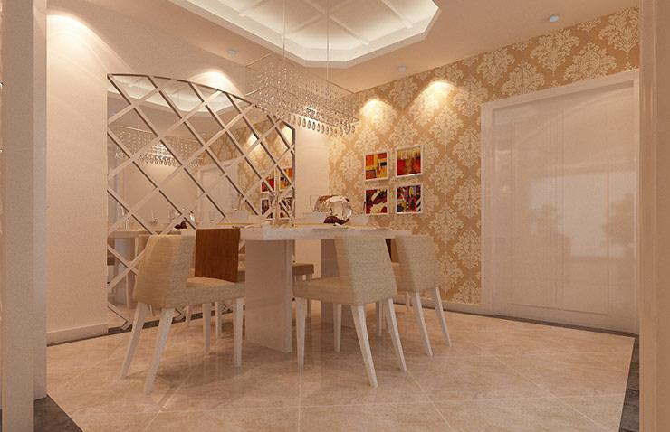 中央特区三室两厅简欧风格样板间装修效果图,餐厅与厨房之间的茶镜图片