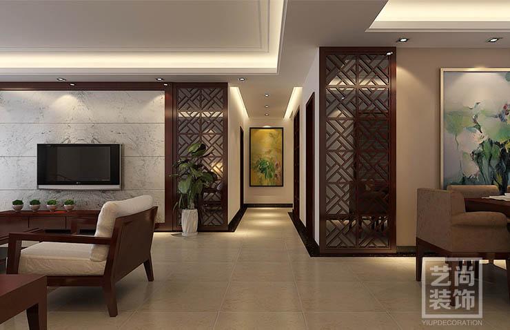 西雅图129三室两厅新中式风格装修样板间效果图