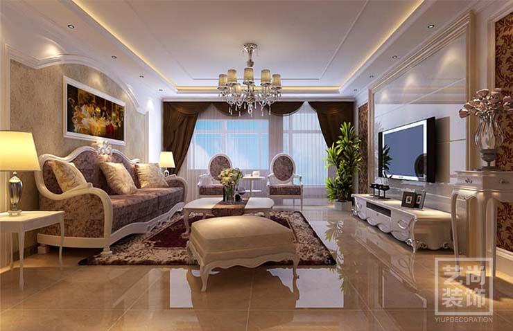 三室两厅简欧风格样板间装修案例,风格为现代简欧,以欧式元素为基调
