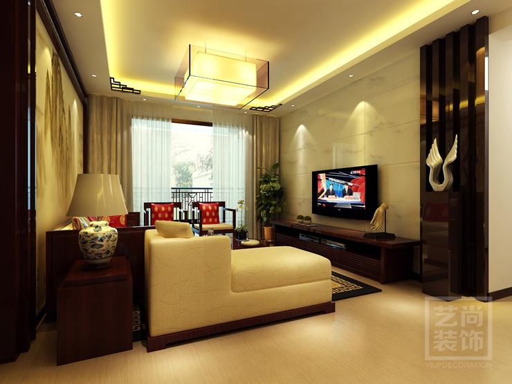 普罗旺世两室两厅装修效果图 74平方两室两厅新中式样板间装修案例