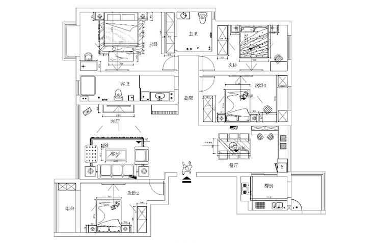 郑州检察院家属院安和小区180平方四室两厅户型图