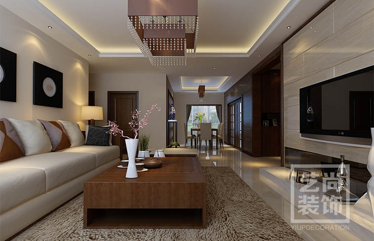 郑州安和小区4室2厅新中式样板间装修效果图