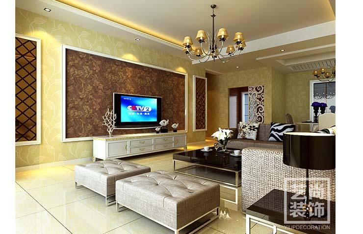正商金域世家c5户型三室两厅装修效果图 125平方三室两厅简欧风格样板