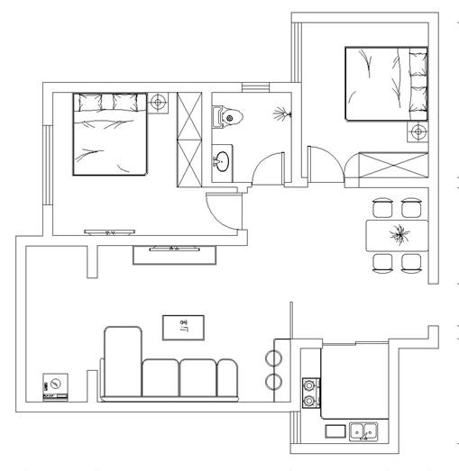鑫苑鑫城兩室兩廳裝修效果圖 85平方兩室兩廳現代簡約樣板間裝修案例