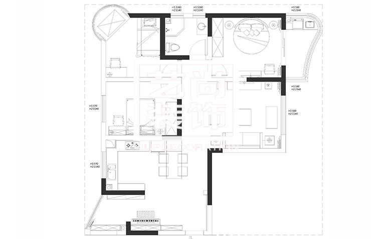 君临天下136平方三室两厅两卫户型图