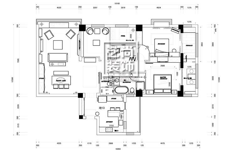 郑州国瑞城130平方三室两厅一厨两卫平面布局图