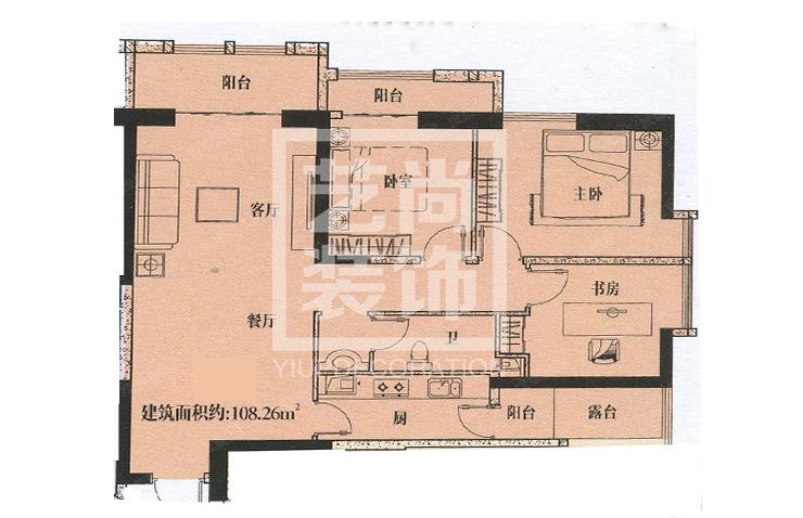 金成时代广场108.26平方三室两厅一卫户型图