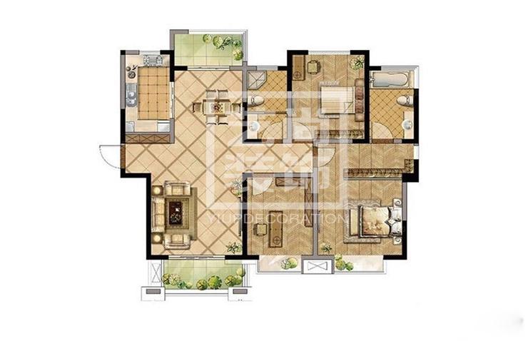 建业春天里142平方三室两厅两卫户型图