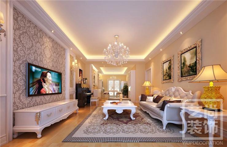 谦祥万和城三室两厅装修效果图 125平方三室两厅简欧风格样板间装修