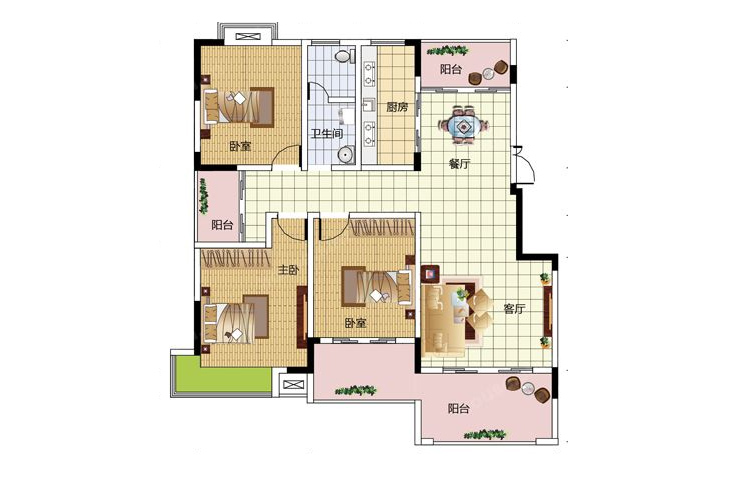公园道1号123.86平方三室两厅两卫户型图