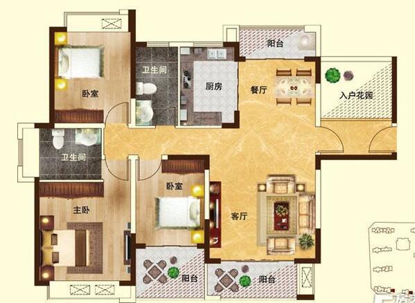 瀚宇天悦三室两厅装修效果图 121平方三室两厅现代简约样板间装修案例