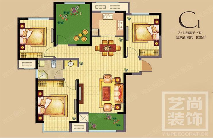 公园道1号108平方三室两厅两卫户型图