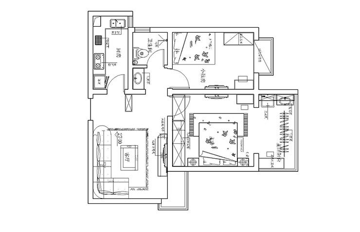 方圆经纬80平方两室两厅一卫户型图