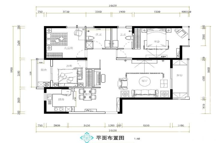 升龙城142平方三室两厅两卫户型图