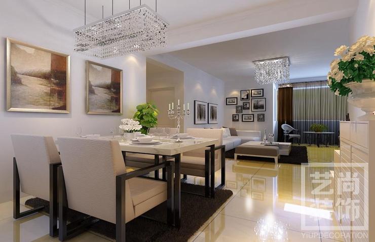 绿都紫荆华庭现代简约90平方三室两厅装修效果图