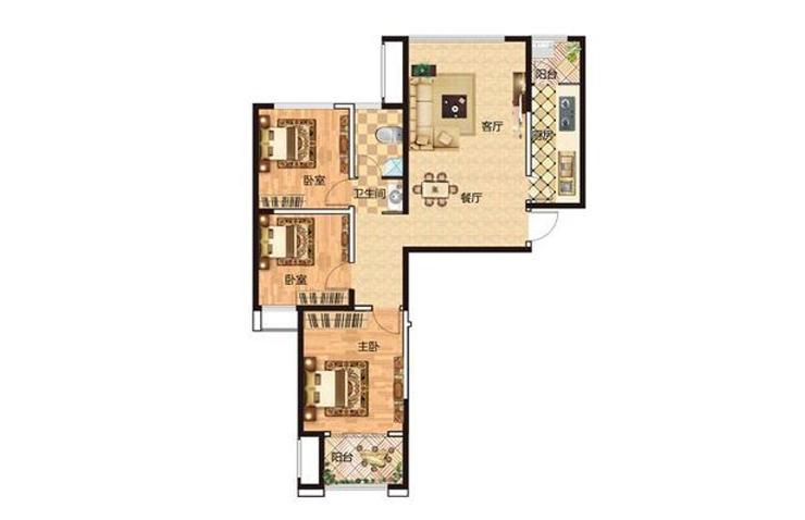 正商金域世家115平方三室两厅一卫户型图