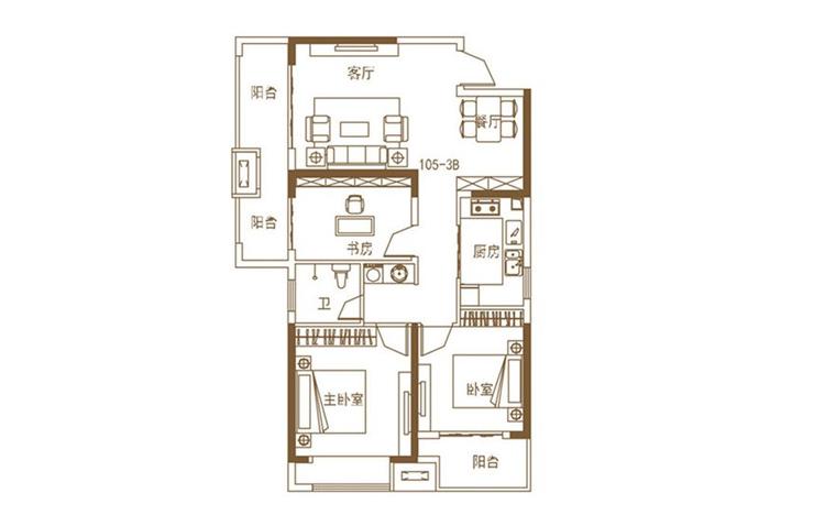 五建新街坊三室两厅三室两厅一卫105平方户型图