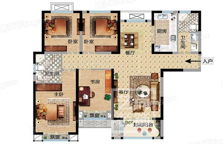 华瑞紫韵城143平方四室两厅两卫户型图