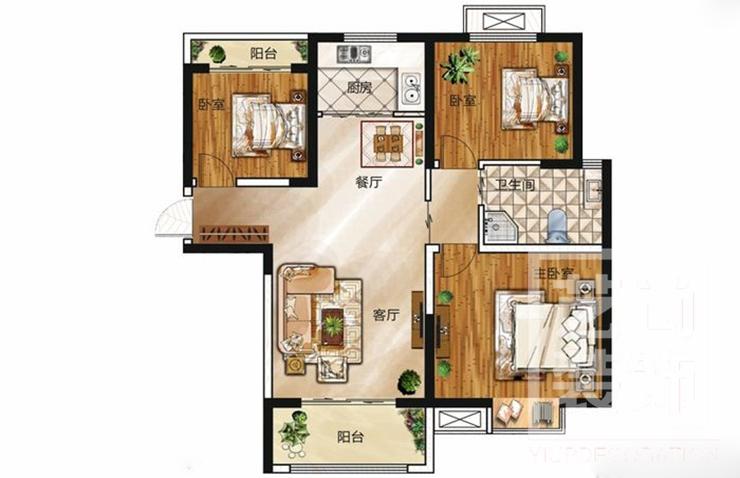 领创天誉华庭113平方三室两厅一卫户型图