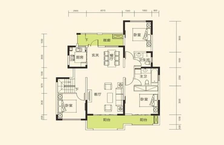 思念果岭国际社区134平方三室两厅两卫户型图