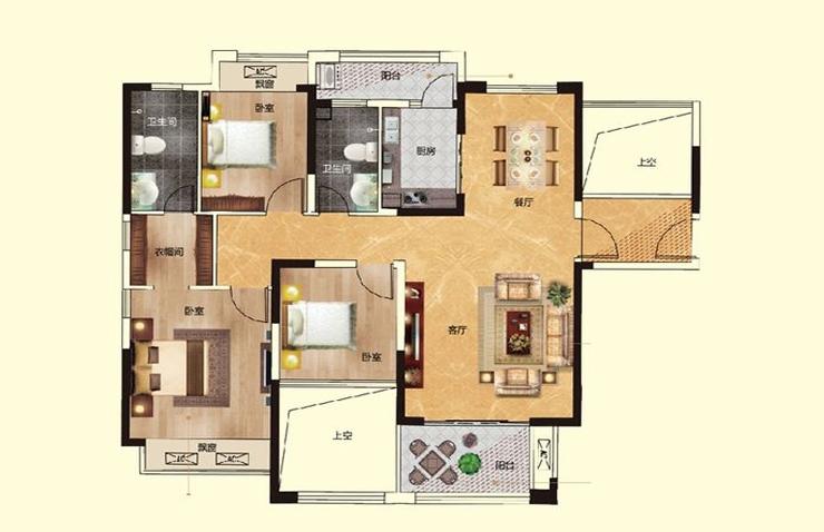瀚宇天悦湾134平方三室两厅两卫户型图