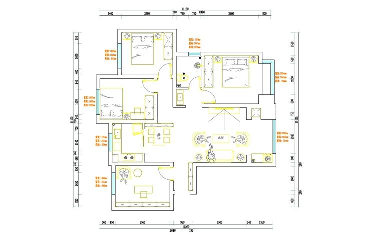 公园道1号130平方四室两厅一卫户型图