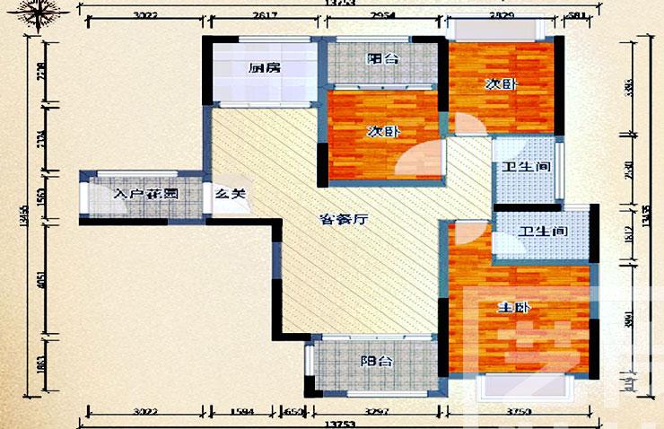 瀚宇天悦湾131平方三室两厅两卫户型图