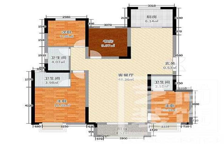 正弘澜庭叙143平方四室两厅两卫户型图