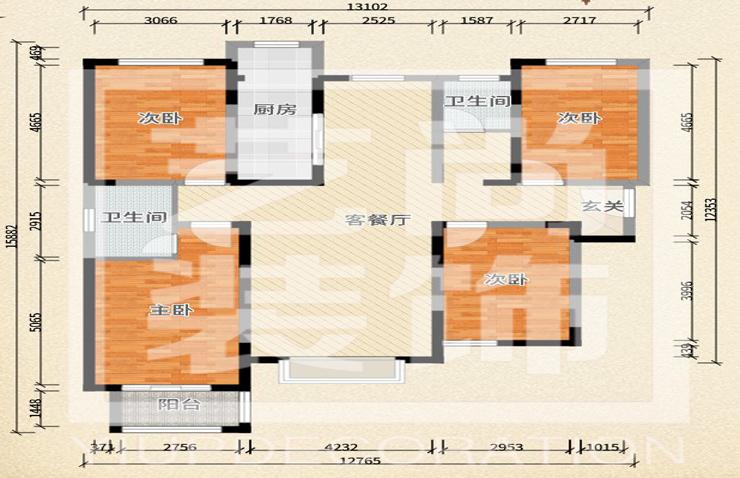华瑞紫韵城168平方四室两厅两卫户型图