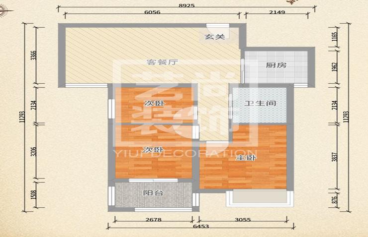 升龙汇金城89平方三室两厅一卫户型图