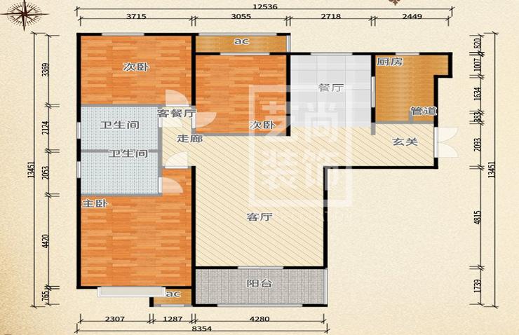 汇泉西悦城126平方三室两厅两卫户型图