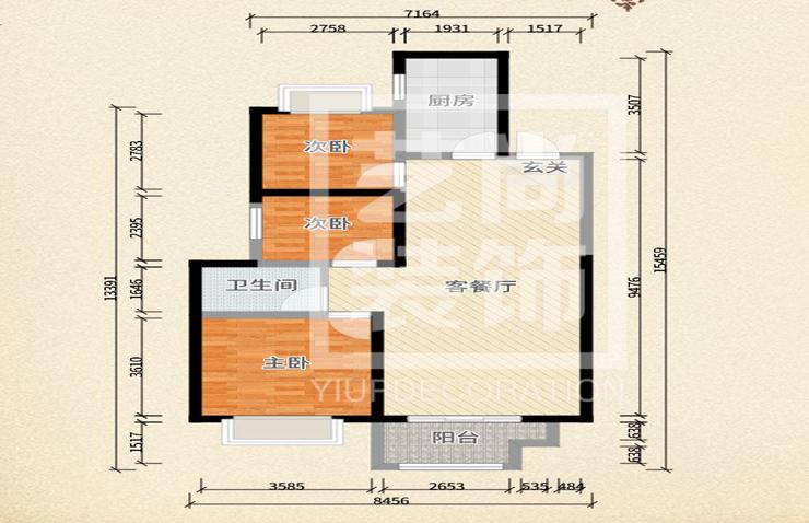 裕华满园103平方三室两厅一卫户型图