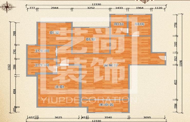 民航国际馨苑130平方三室两厅一卫户型图