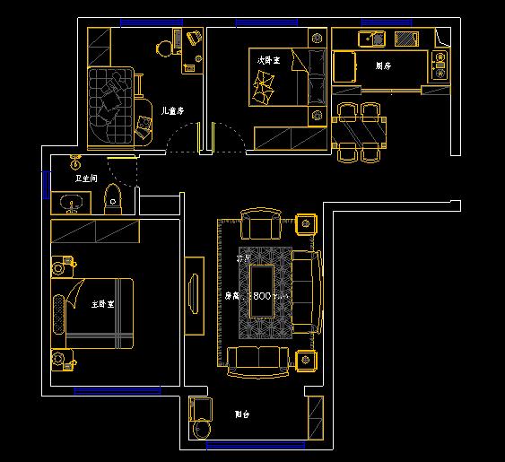 清华大溪地109平方三室两厅一卫户型图