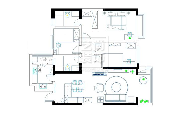 恒大翡翠华庭120平方三室两厅两卫户型图