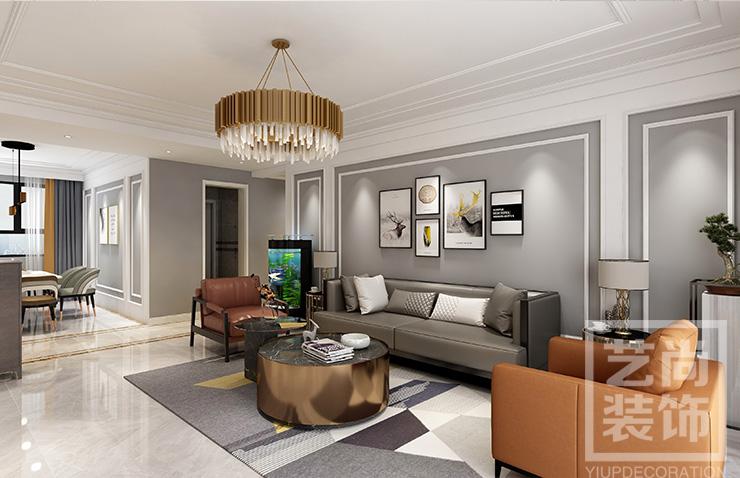 南航家属院祥云和苑160平四室两厅雷火竞猜app方案效果图---客厅沙发背景墙雷火竞猜app效果图
