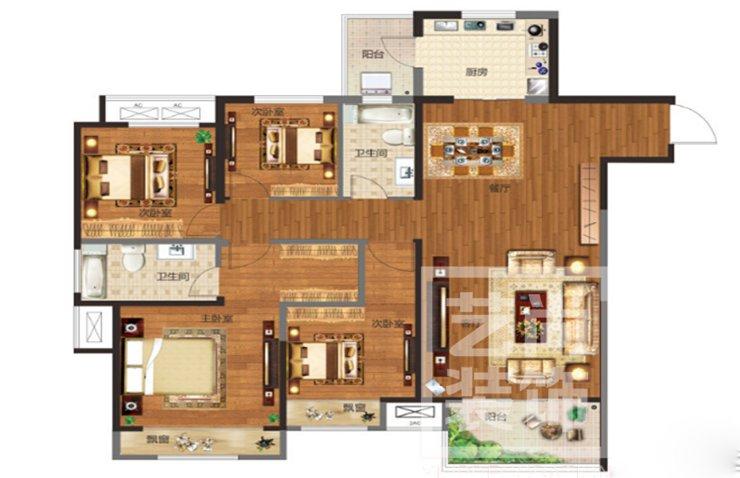 金科城142平方四室两厅两卫户型图